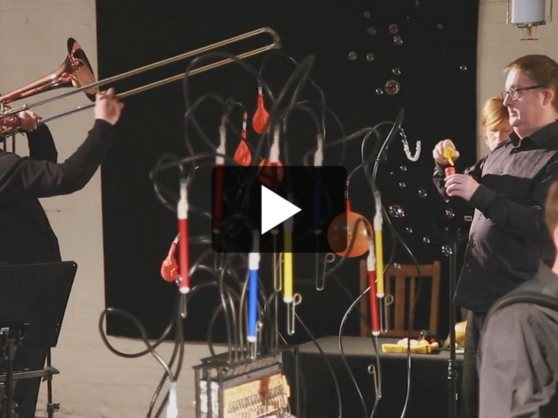 playing music with unusually created instruments