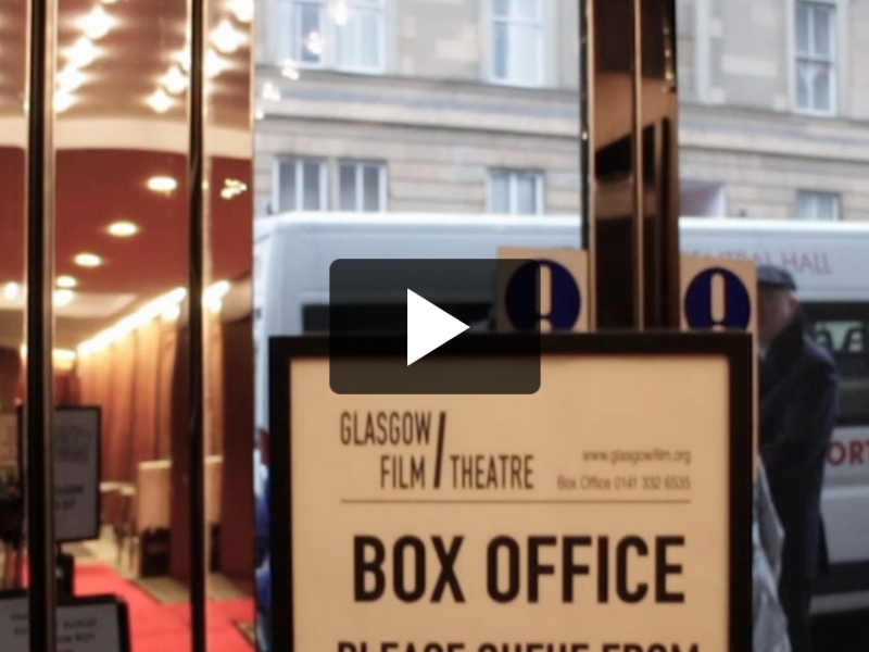 Box office sign inside theatre foyer.