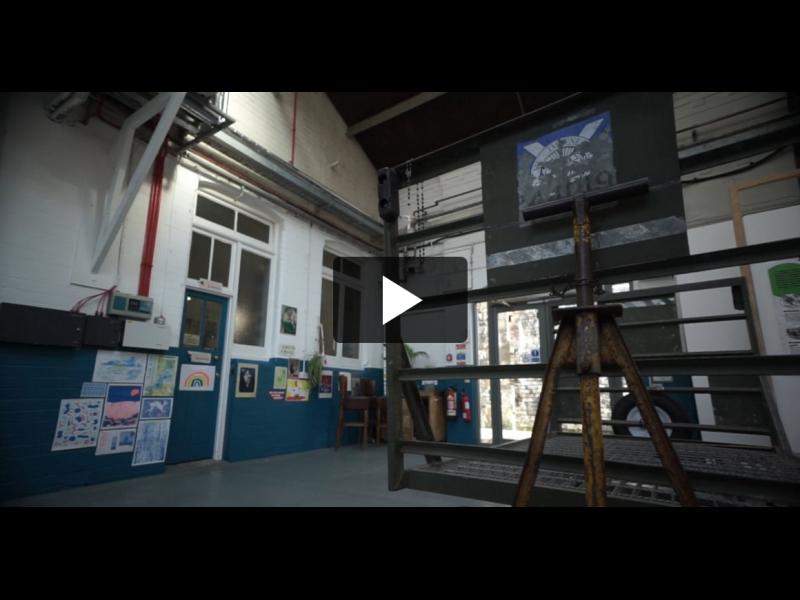 Industrial workshop space.